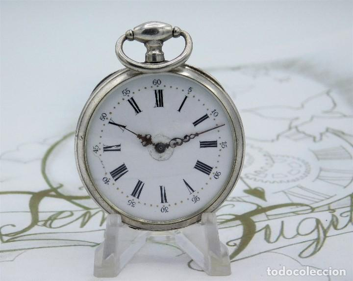 Relojes de bolsillo: RELOJ DE BOLSILLO BENOIT SUIZO-DE PLATA-CON PRECIOSO GRABADO-3 TAPAS-CIRCA 1890-FUNCIONANDO - Foto 16 - 148587174