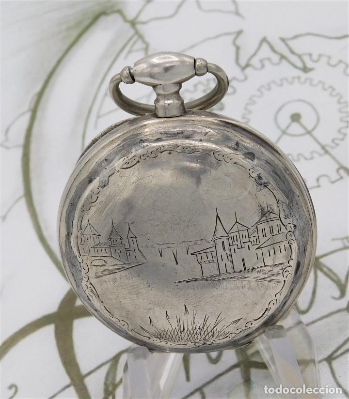 RELOJ DE BOLSILLO BENOIT SUIZO-DE PLATA-CON PRECIOSO GRABADO-3 TAPAS-CIRCA 1890-FUNCIONANDO (Relojes - Bolsillo Carga Manual)