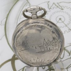 Relojes de bolsillo: RELOJ DE BOLSILLO BENOIT SUIZO-DE PLATA-CON PRECIOSO GRABADO-3 TAPAS-CIRCA 1890-FUNCIONANDO. Lote 148587174