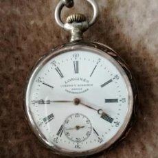 Relojes de bolsillo: RELOJ LONGINES FABRICADO PARA CUERVO Y SOBRINOS, SIGLO XX,PLATA Y ORO NEILLE,BIEN CONSERVADO.. Lote 149338256