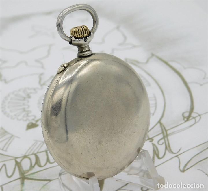 Relojes de bolsillo: LONGINES EFCº-FANTÁSTICO RELOJ DE BOLSILLO REMONTOIRE-2 TAPAS-CIRCA 1893-FUNCIONANDO - Foto 4 - 149386562
