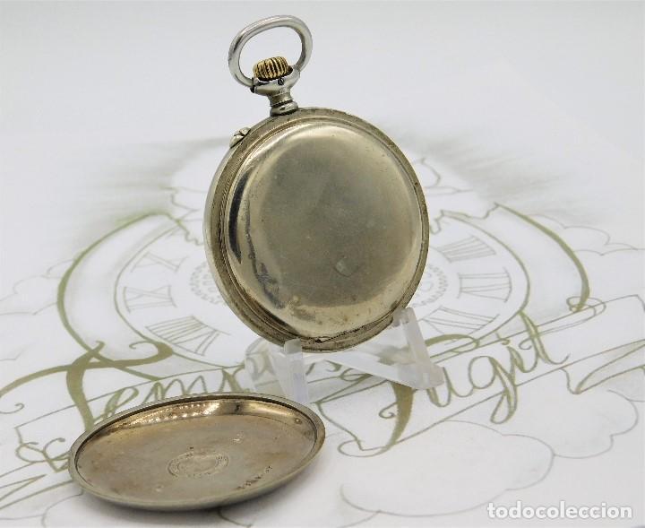 Relojes de bolsillo: LONGINES EFCº-FANTÁSTICO RELOJ DE BOLSILLO REMONTOIRE-2 TAPAS-CIRCA 1893-FUNCIONANDO - Foto 6 - 149386562