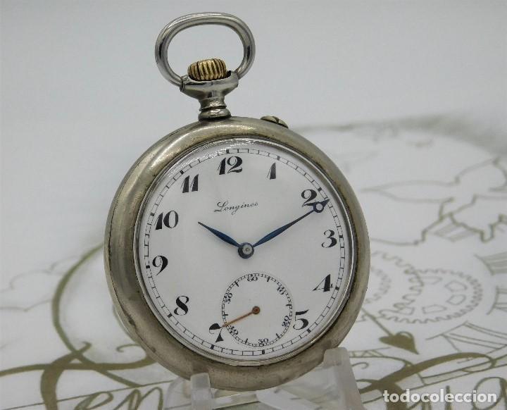 Relojes de bolsillo: LONGINES EFCº-FANTÁSTICO RELOJ DE BOLSILLO REMONTOIRE-2 TAPAS-CIRCA 1893-FUNCIONANDO - Foto 8 - 149386562