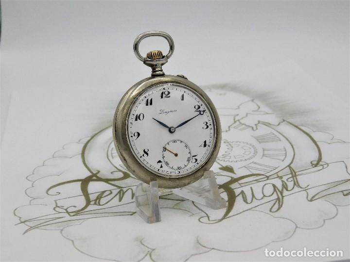 Relojes de bolsillo: LONGINES EFCº-FANTÁSTICO RELOJ DE BOLSILLO REMONTOIRE-2 TAPAS-CIRCA 1893-FUNCIONANDO - Foto 9 - 149386562