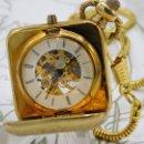 Relojes de bolsillo: RARO Y MUY BONITO RELOJ DE BOLSILLO SABONETA-ESQUELETO-VINTAGE-CARGA MANUAL-FUNCIONANDO-LEONTINA. Lote 149637114