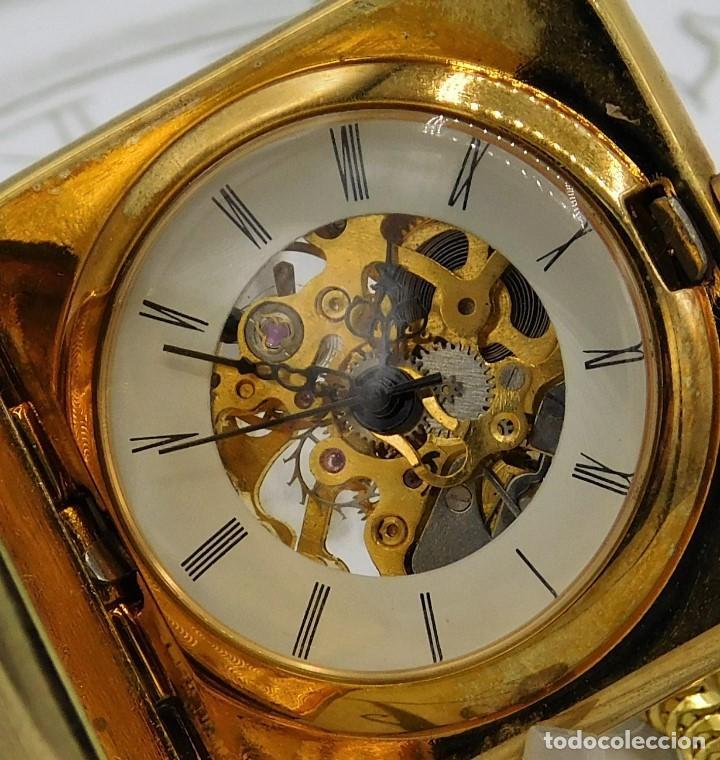 Relojes de bolsillo: RARO Y MUY BONITO RELOJ DE BOLSILLO SABONETA-ESQUELETO-VINTAGE-CARGA MANUAL-FUNCIONANDO-LEONTINA - Foto 5 - 149637114