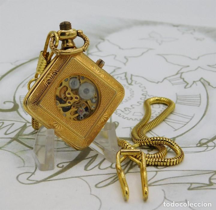 Relojes de bolsillo: RARO Y MUY BONITO RELOJ DE BOLSILLO SABONETA-ESQUELETO-VINTAGE-CARGA MANUAL-FUNCIONANDO-LEONTINA - Foto 7 - 149637114