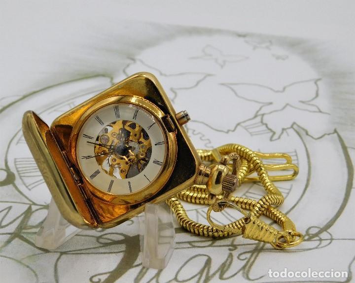Relojes de bolsillo: RARO Y MUY BONITO RELOJ DE BOLSILLO SABONETA-ESQUELETO-VINTAGE-CARGA MANUAL-FUNCIONANDO-LEONTINA - Foto 8 - 149637114