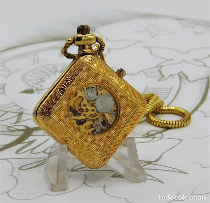 Relojes de bolsillo: RARO Y MUY BONITO RELOJ DE BOLSILLO SABONETA-ESQUELETO-VINTAGE-CARGA MANUAL-FUNCIONANDO-LEONTINA - Foto 9 - 149637114
