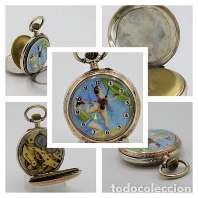 RELOJ DE BOLSILLO ERÓTICO ALEMÁN-REMONTOIR-DE PLATA-3 TAPAS-10 RUBÍS-FUNCIONANDO-CIRCA 1920 (Relojes - Bolsillo Carga Manual)