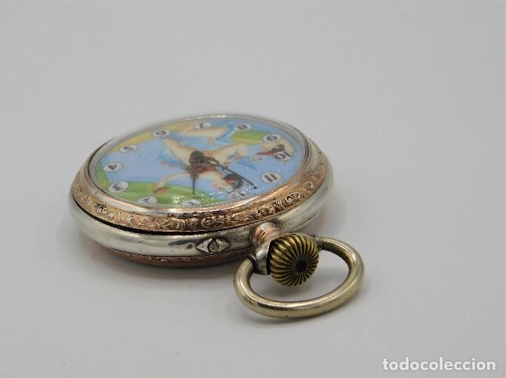 Relojes de bolsillo: RELOJ DE BOLSILLO ERÓTICO ALEMÁN-REMONTOIR-DE PLATA-3 TAPAS-10 RUBÍS-FUNCIONANDO-CIRCA 1920 - Foto 2 - 149724886