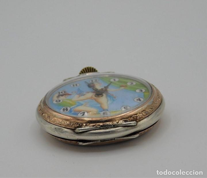 Relojes de bolsillo: RELOJ DE BOLSILLO ERÓTICO ALEMÁN-REMONTOIR-DE PLATA-3 TAPAS-10 RUBÍS-FUNCIONANDO-CIRCA 1920 - Foto 3 - 149724886