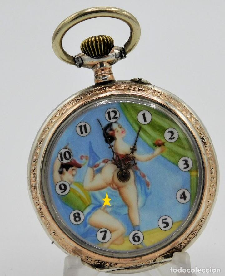 Relojes de bolsillo: RELOJ DE BOLSILLO ERÓTICO ALEMÁN-REMONTOIR-DE PLATA-3 TAPAS-10 RUBÍS-FUNCIONANDO-CIRCA 1920 - Foto 4 - 149724886