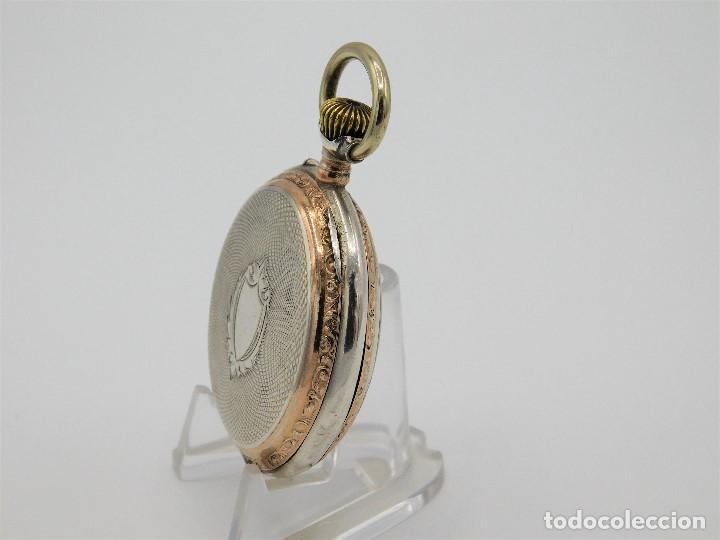 Relojes de bolsillo: RELOJ DE BOLSILLO ERÓTICO ALEMÁN-REMONTOIR-DE PLATA-3 TAPAS-10 RUBÍS-FUNCIONANDO- - Foto 11 - 149724886