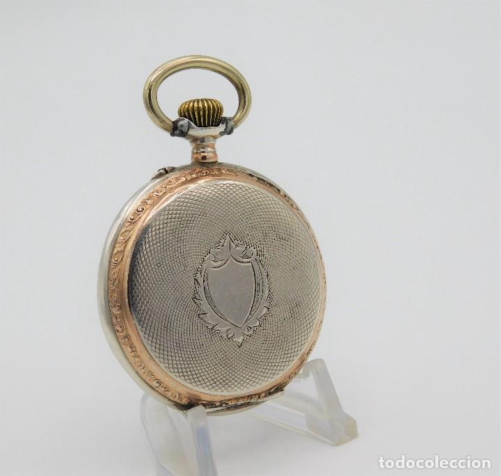 Relojes de bolsillo: RELOJ DE BOLSILLO ERÓTICO ALEMÁN-REMONTOIR-DE PLATA-3 TAPAS-10 RUBÍS-FUNCIONANDO- - Foto 3 - 149724886