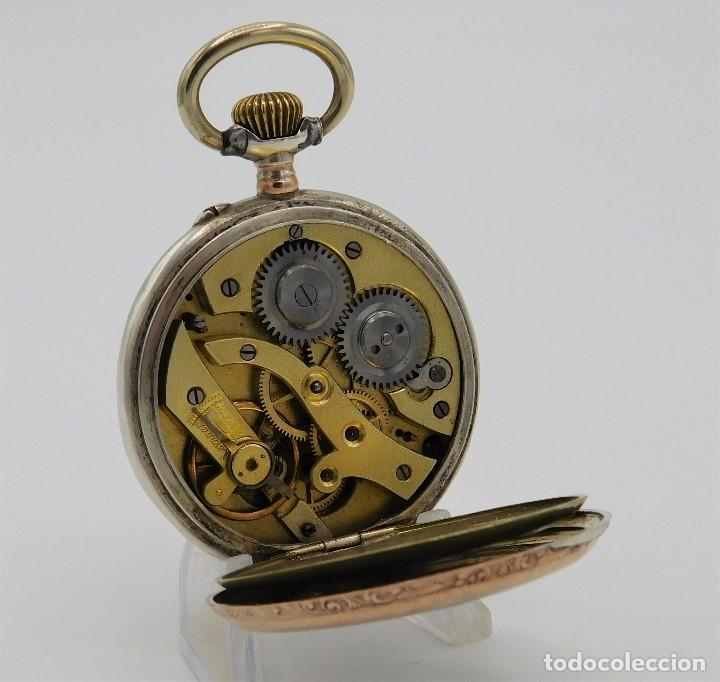 Relojes de bolsillo: RELOJ DE BOLSILLO ERÓTICO ALEMÁN-REMONTOIR-DE PLATA-3 TAPAS-10 RUBÍS-FUNCIONANDO- - Foto 4 - 149724886