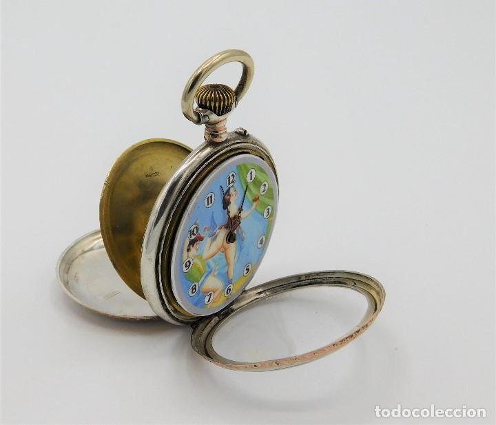 Relojes de bolsillo: RELOJ DE BOLSILLO ERÓTICO ALEMÁN-REMONTOIR-DE PLATA-3 TAPAS-10 RUBÍS-FUNCIONANDO-CIRCA 1920 - Foto 10 - 149724886