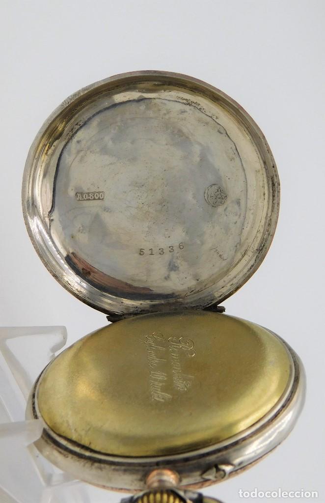 Relojes de bolsillo: RELOJ DE BOLSILLO ERÓTICO ALEMÁN-REMONTOIR-DE PLATA-3 TAPAS-10 RUBÍS-FUNCIONANDO- - Foto 5 - 149724886