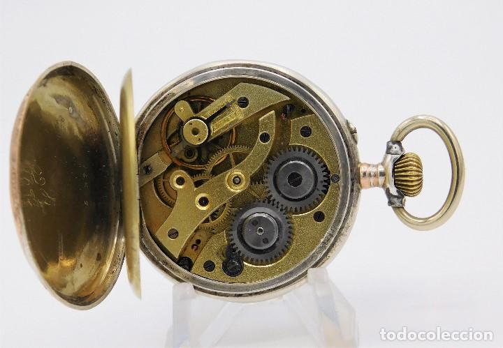 Relojes de bolsillo: RELOJ DE BOLSILLO ERÓTICO ALEMÁN-REMONTOIR-DE PLATA-3 TAPAS-10 RUBÍS-FUNCIONANDO-CIRCA 1920 - Foto 12 - 149724886