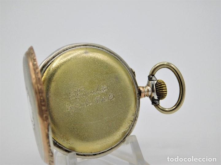 Relojes de bolsillo: RELOJ DE BOLSILLO ERÓTICO ALEMÁN-REMONTOIR-DE PLATA-3 TAPAS-10 RUBÍS-FUNCIONANDO- - Foto 6 - 149724886