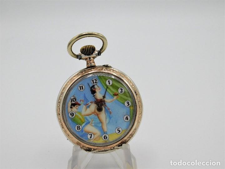Relojes de bolsillo: RELOJ DE BOLSILLO ERÓTICO ALEMÁN-REMONTOIR-DE PLATA-3 TAPAS-10 RUBÍS-FUNCIONANDO-CIRCA 1920 - Foto 15 - 149724886