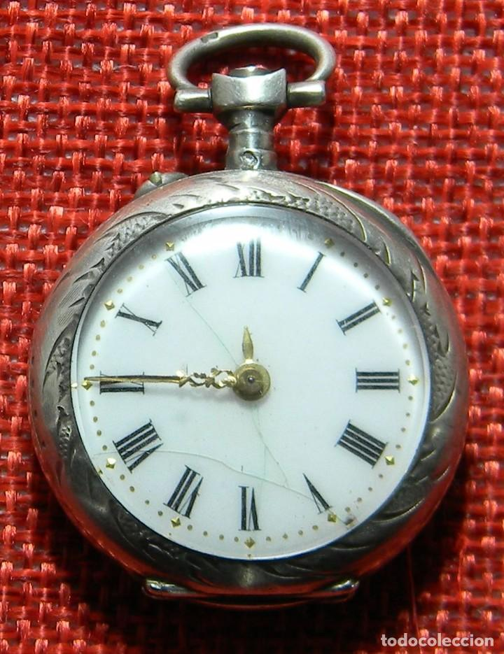 ANTIGUO RELOJ DE SRA. CAJA DE PLATA. ESFERA PORCELANA. 1910 - 20 G - 30 MM (Relojes - Bolsillo Carga Manual)