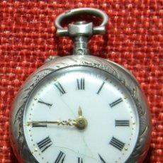 Relojes de bolsillo: ANTIGUO RELOJ DE SRA. CAJA DE PLATA. ESFERA PORCELANA. 1910 - 20 G - 30 MM. Lote 150146310