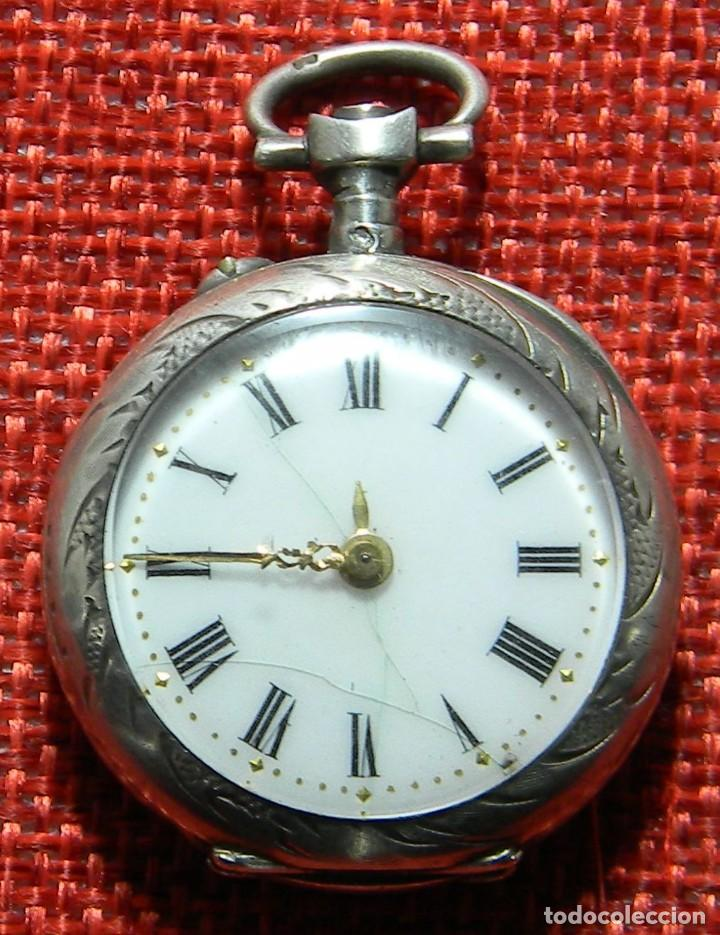 Relojes de bolsillo: ANTIGUO RELOJ DE SRA. Caja de plata. ESFERA PORCELANA. 1910 - 20 G - 30 MM - Foto 5 - 150146310