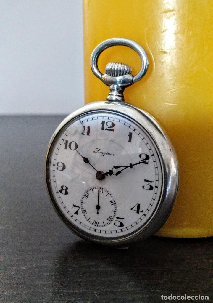 RELOJ BOLSILLO LONGINES DE DAMA PLATA 800 C.1920 (Relojes - Bolsillo Carga Manual)