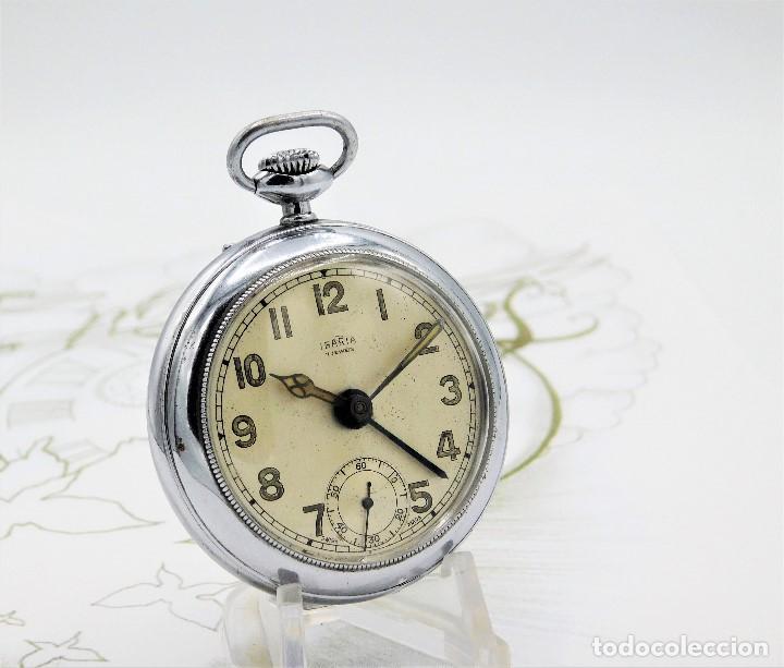CON ALARMA-IBARIA (BAUMGARTNER FRÉRES)-GRAN RELOJ DE BOLSILLO-MITAD SIGLO XX-SUIZO-FUNCIONANDO (Relojes - Bolsillo Carga Manual)
