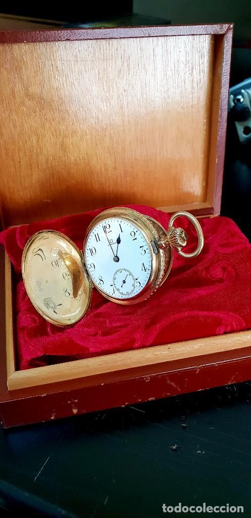 EXCLUSIVO RELOJ OMEGA EN ORO 18K, TRES GRANDES PREMIOS (Relojes - Bolsillo Carga Manual)