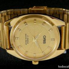 Relojes de bolsillo: RELOJ ORIS MANUAL AÑOS 70. CHAPADO ORO. CORREA A JUEGO. 38MM CON CORONA CABALLERO. Lote 151910502