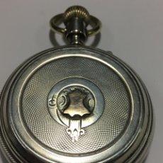 Relojes de bolsillo: RELOJ DE BOLSILLO TRIPLE TAPA DE PLATA DE LEY CON DETALLE DE ORO EN LA TAPA MARCA HUGUENIM GENEVE. Lote 152213550