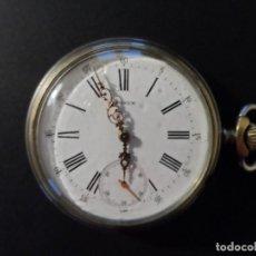 Relojes de bolsillo: RELOJ SIDE WINDER CORONA A LAS 3. PATECK -GEORGE HALOWAY. ALPACA. ESFERA PORCELANA. AÑO 1880. Lote 152326822