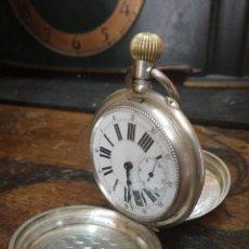 Relojes de bolsillo: ANTIGUO RELOJ DE BOLSILLO EN PLATA GENEVE ANCRE LIGNE DROIT RUBIS. FINALES SIGLO XIX DIAMETRO 5,3 CM. Lote 152364930