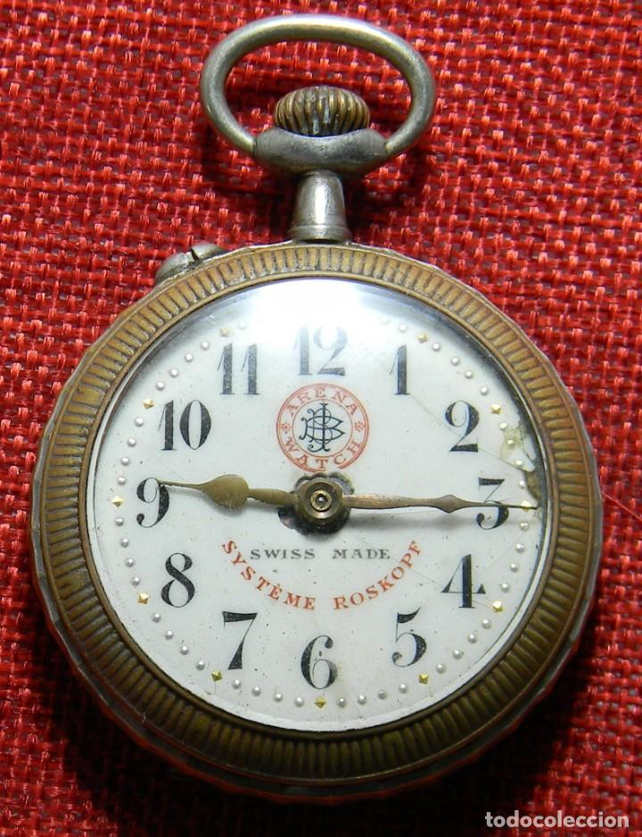 ANTIGUO RELOJ ARENA WATCH – SYSTEME ROSKOPF – SWISS – PRINCIPIOS S. XX – ESFERA PORCELANA – 48 MM (Relojes - Bolsillo Carga Manual)