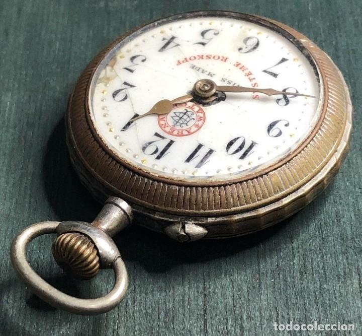 Relojes de bolsillo: Antiguo reloj Arena Watch – Systeme Roskopf – Swiss – Principios s. XX – Esfera porcelana – 48 mm - Foto 4 - 152700394