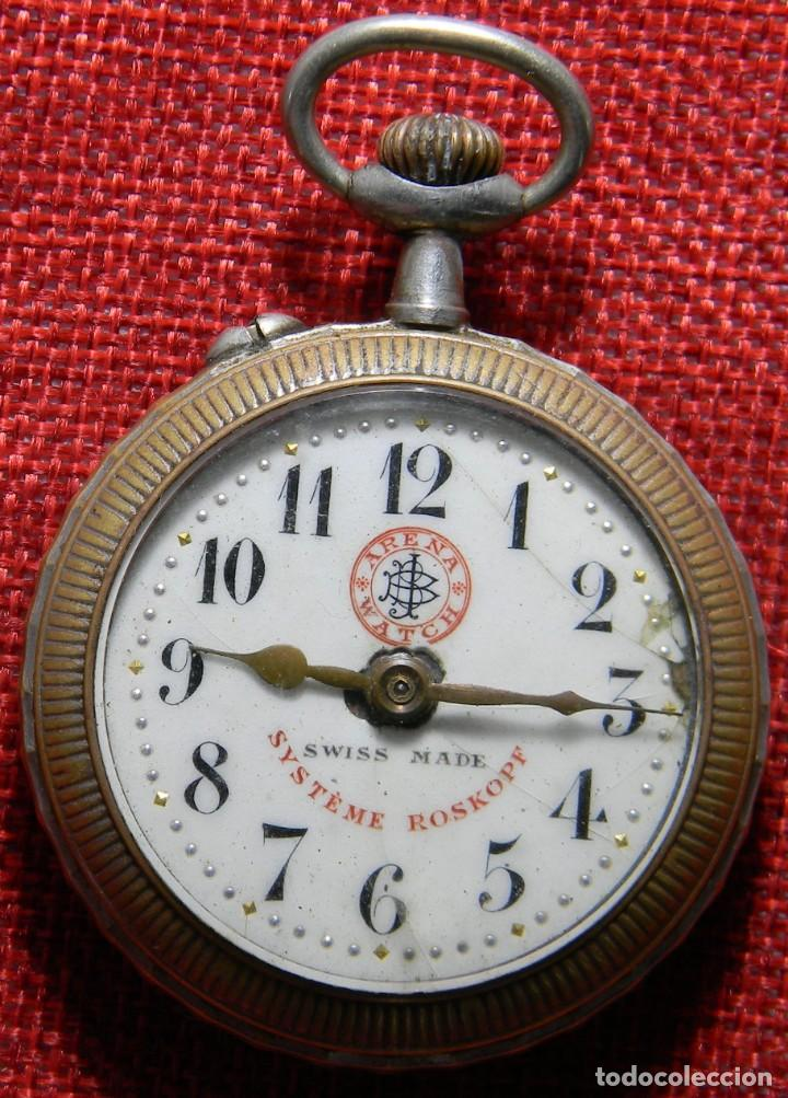 Relojes de bolsillo: Antiguo reloj Arena Watch – Systeme Roskopf – Swiss – Principios s. XX – Esfera porcelana – 48 mm - Foto 5 - 152700394