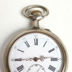Relojes de bolsillo: RELOJ DE BOLSILLO.TIPO LEPINE. CAJA DE METAL PLATEADO. SUIZA. SIGLO XX. . Lote 153304326