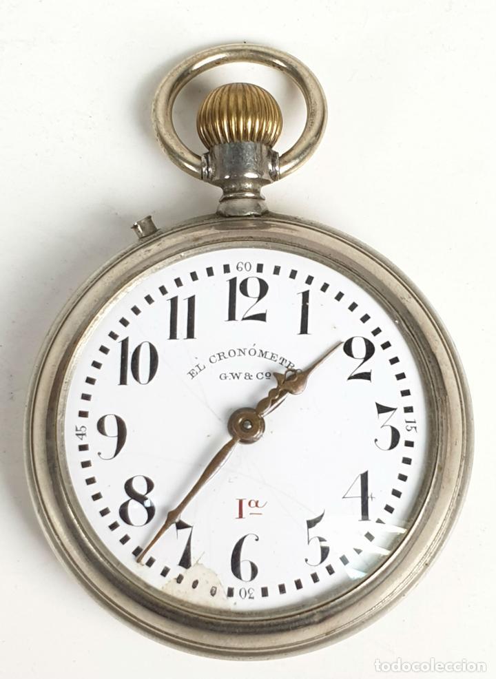 RELOJ DE BOLSILLO. EL CRONOMETRO GW AND CIA. TIPO LEPINE. SUIZA. SIGLO XX. (Relojes - Bolsillo Carga Manual)