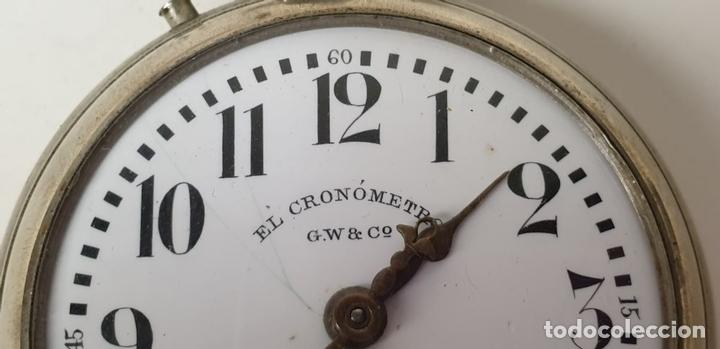 Relojes de bolsillo: RELOJ DE BOLSILLO. EL CRONOMETRO GW AND CIA. TIPO LEPINE. SUIZA. SIGLO XX. - Foto 4 - 153308402
