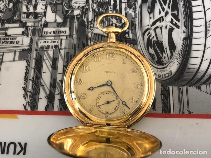 PRECIOSO RELOJ DRUSUS DOBLE CHAPADO MDE ORO , VER FOTO 54 MM FALTA CORONA (Relojes - Bolsillo Carga Manual)