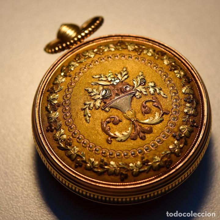 ANTIGUO IMPRESIONANTE RELOJ BOLSILLO ORO 18 KT CATALINO LLAVE ORO FLOR LIS BORBONES PRECIO 32300 EU (Relojes - Bolsillo Carga Manual)