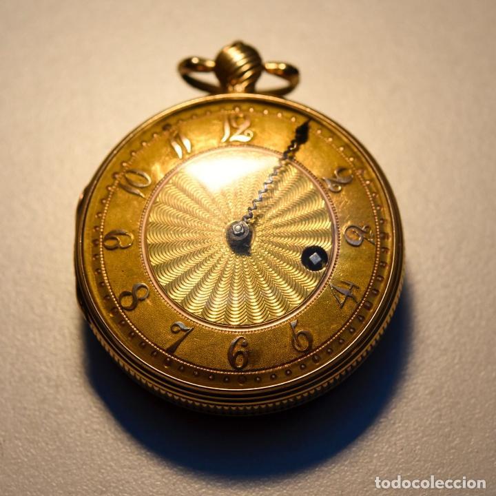 Relojes de bolsillo: ANTIGUO IMPRESIONANTE RELOJ BOLSILLO ORO 18 KT CATALINO LLAVE ORO FLOR LIS borbones precio 32300 eu - Foto 2 - 153510222