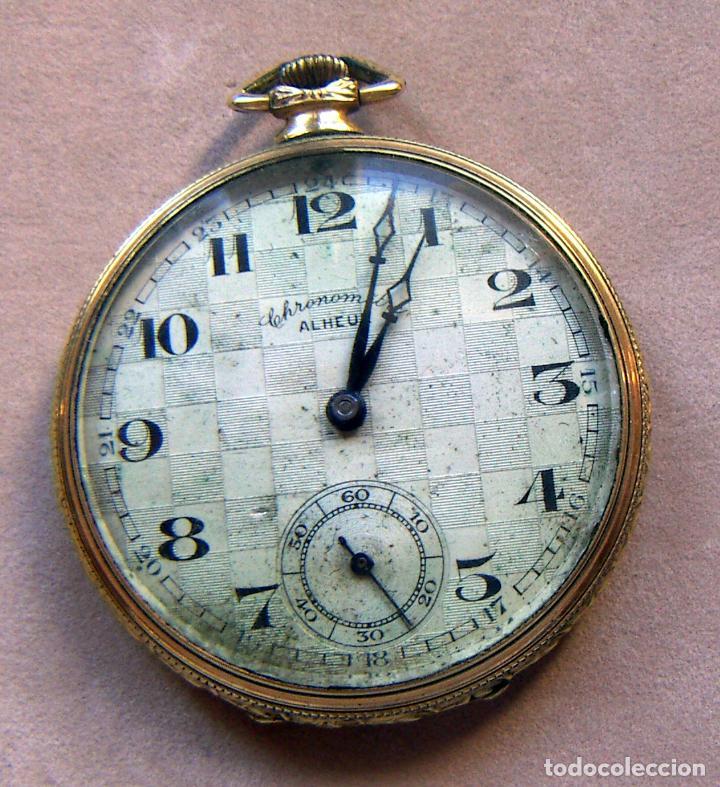 RELOJ DE BOLSILLO DE ORO MARCA ALHEUR (Relojes - Bolsillo Carga Manual)