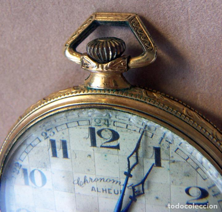 Relojes de bolsillo: RELOJ DE BOLSILLO DE ORO MARCA ALHEUR - Foto 2 - 153561562