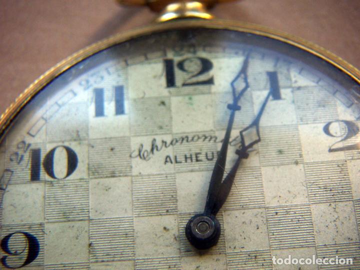 Relojes de bolsillo: RELOJ DE BOLSILLO DE ORO MARCA ALHEUR - Foto 3 - 153561562