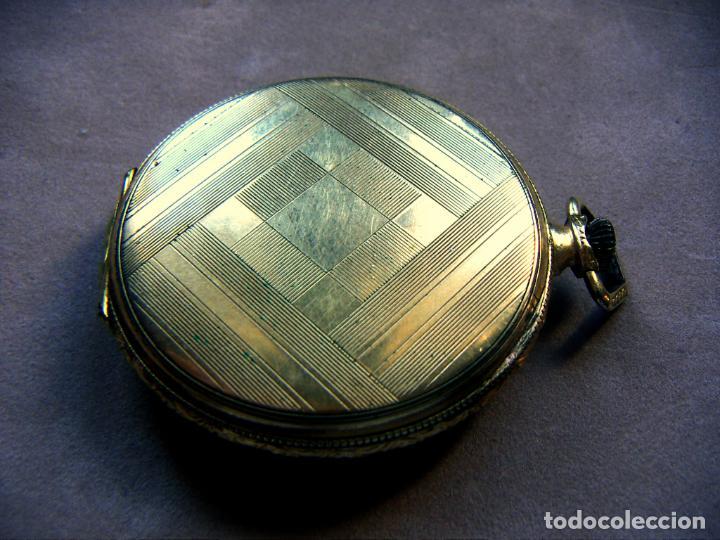 Relojes de bolsillo: RELOJ DE BOLSILLO DE ORO MARCA ALHEUR - Foto 5 - 153561562