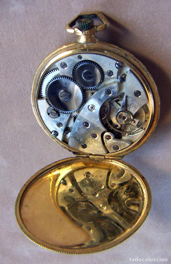 Relojes de bolsillo: RELOJ DE BOLSILLO DE ORO MARCA ALHEUR - Foto 6 - 153561562