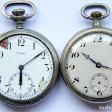Relojes de bolsillo: LOTE 2 RELOJ DE BOLSILLO:CYMA+GRAND PRIX EXPOSITION UNIVERSELLE BRUXELLES 1910 ¿PLATA? . Lote 154350826
